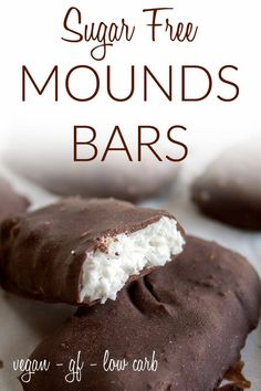 Sugar Free Mounds Bars (vegan gluten free keto) - These keto coconut bars are a great snack for people on a low carb or vegan keto diet. Sugar Free Snacks, Sugar Free Desserts, Sugar Free Recipes, Low Carb Desserts, Healthy Dessert Recipes, Vegan Desserts, Snack Recipes, Keto Recipes, Cookie Recipes