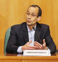 O executivo Marcelo Odebrecht, preso na Lava Jato, durante depoimento à CPI da Petrobras em Curitiba