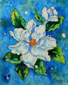 Batik Watercolor of White Magnolia by Colorado Artist Martha Kisling. $45.00, via Etsy.