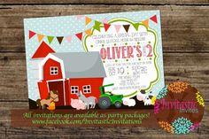 Farm Animal Birthday Invitation, Old McDonald Theme, Farmer Birthday, Tractor, Horse, Cow, Chicken theme printable birthday party invitation