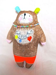 Big bear hand painted art doll by JessQuinnSmallArt on Etsy