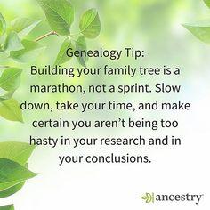It's a marathon, not a sprint.   #genealogy #familyhistory #familytree #heritage #roots #tips