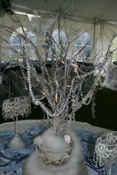 Winter Wedding centerpieces... spray painted branches