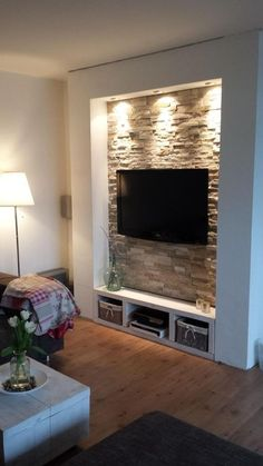 Chic and Modern TV wall mount ideas. - Since many people including your family enjoy watching TV, you need to consider the best place to install it. Here are 15 best TV wall mount ideas for any place including your living room. Living Room Tv, Home And Living, Stone Wall Living Room, Tv Wall Design, House Design, Deco Tv, Tv Wanddekor, Tv Wall Decor, Wall Tv
