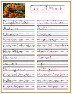 Fun Fall Words: Pumpkin Patch-Inspired Handwriting Practice