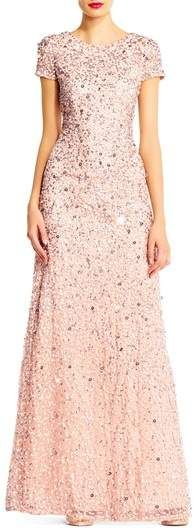 f084efe5619 Adrianna Papell Short Sleeve Sequin Mesh Gown flowing to fishtail. Sparkles  with the beaded embellishments