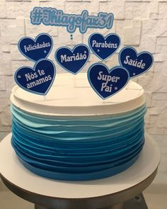 Homenagem para um super marido 💙 Topper @ateliefazendoartepapelaria .. . . . .… Bolo Frozen, Buttercream Cake, Birthday Party Decorations, Cake Cookies, Cookie Decorating, Fondant, Birthday Cake, Instagram, Ursula