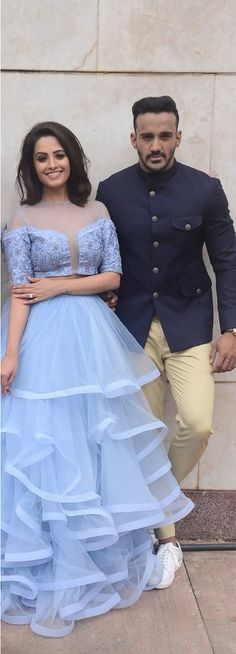 First Look: Anita Hassanandani & Hubby Rohit Reddy's Romantic Photoshoot Western Outfits, Indian Outfits, Party Wear, Party Dress, Indian Gowns, Lehenga Designs, Bridal Lehenga, Indian Designer Wear, Bollywood Fashion