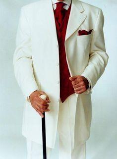 White tux with red vest. SKU# JOS_106 Off White Tuxedo Fashion Men's Suits Tuxedos / Formalwear White/Off White Tuxedos