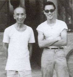 Yip Man (Ip Man), Wing Chun gung-fu master, with his young student, Lee Jun Fan, aka Bruce Lee.