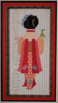 This is just beautiful needlepoint- the background stitch, the colors, the design of the geisha...
