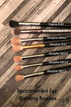 Recommended Eye Blending Brushes (Sigma, BH Cosmetics, Morphe) - Make-Up:* - Makeup Brush Texture, Eye Blending Brush, Bh Cosmetics, Makeup Dupes, Skin Makeup, Beauty Makeup, Makeup Morphe, Makeup Remover, Elf Makeup