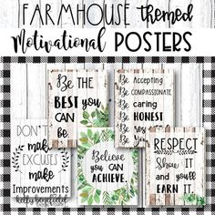 Classroom Decor: Motivational Posters Farmhouse Themed l Growth Mindset School Counselor Office, Counseling Office, Social Work Offices, Character Education Lessons, Classroom Themes, Calm Classroom, Classroom Design, Music Classroom, Growth Mindset Posters