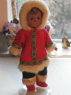 "Vintage Madame Alexander 8"" Eskimo Boy Bent Knee BK Doll"