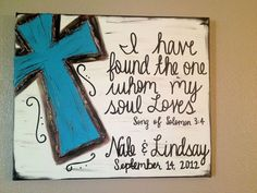 Custom last name, wedding date & Bible verse Cross canvas. We used this verse on our wedding invitation. Cute Crafts, Diy And Crafts, Party Crafts, Wooden Crafts, Creative Crafts, Creative Art, Our Wedding, Wedding Gifts, Wedding Ideas