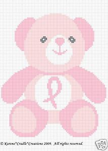 Breast Cancer Awareness Bear Crochet Afghan Pattern