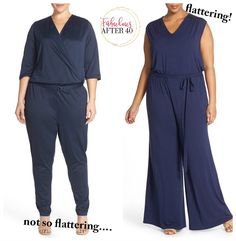 How to Wear a Jumpsuit After 40 If You're Plus Size (And Look Like a Skinny Minny! Apple Shape Outfits, Dresses For Apple Shape, Autumn Fashion Women Fall Outfits, Summer Fashion Outfits, Apple Body Fashion, Apple Shape Fashion, Dressing Your Body Type, Plus Size Jumpers, Fit Black Women