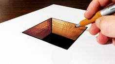 How to draw a 3D hole on paper for kids. This is a very easy trick art optical illusion for kids of all ages! Materials used: 110lb cardstock, Sharpie marker...