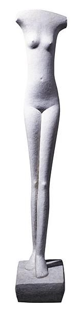 """Alberto Giacometti (1901–1966). Swiss sculptor, painter, draughtsman, and printmaker. """"Woman Walking"""" (Femme qui marche), 1932. Plaster, 150 cm high, including base. Peggy Guggenheim Collection. © Artists Rights Society (ARS), New York/ADAGP, Paris."""