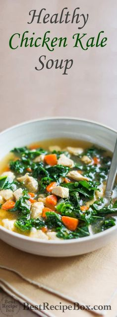 Chicken Kale Soup Healthy Chicken Soup Recipe with Tons of Kale and loaded with flavor Chicken Kale Soup, Healthy Chicken Soup, Keto Chicken, Kale Soup Recipes, Chicken Soup Recipes, Recipes With Kale, Chicken Breast Soup Recipe, Chicken Crafts, Dinner Recipes