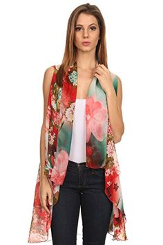 LL Womens Sheer Pattern Kimono Open Front Poncho Vest Wrap Summer Light Chiffon Coral Japanese Floral * For more information, visit image link.
