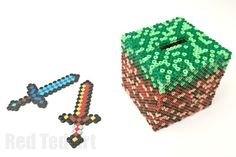 Minecraft Perler Bead Pattern - free Moneybox Pattern idea - a fun and practical minecraft craft made from perler beads