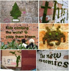 moss graffiti. HAVE to. Guerilla gardening rules.