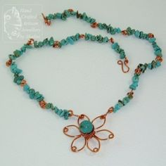 Turquoise Necklace with Copper Flower « Jewellery By Shalini