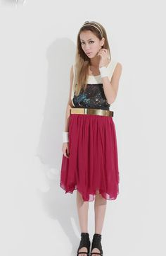 Wine Red Chiffon Asymmetrical Above The Knee Skirt