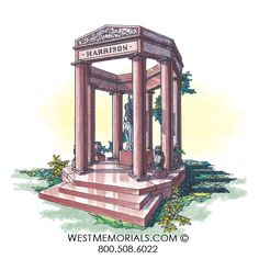 West Memorials custom mausoleums - granite gazebo with statue. 2017 Design, Beautiful Birds, Cemetery, Granite, Hand Carved, Gazebo, This Is Us, Carving, Outdoor Structures