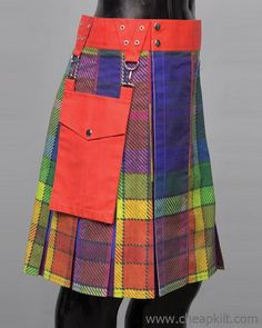 LGBTQ Rainbow Fashion Custom Made Fashion Kilt that gives you pure working and Fashion look. kilts for sale, kilts for men Tactical Kilt, Cheap Kilts, Great Kilt, Kilts For Sale, Leather Kilt, Utility Kilt, Scottish Kilts, Rainbow Fashion, Men In Kilts
