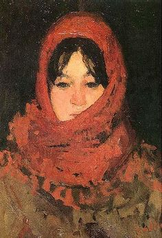 The Red Scarf - Ion Andreescu, Romainian, 1850 - 1882 - Barbizon School Keys Art, Portraits, Portrait Paintings, Impressionism Art, Art Database, Oil Painting Reproductions, Heart Art, Illustrations, Beautiful Paintings