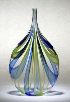 """Cobalt & Green Cane Bottle""  Art Glass Vessel created by Chris McCarthy      Created by Chris McCarthy"
