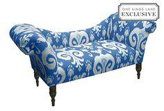 Hutton Chaise, Powder Blue Ikat