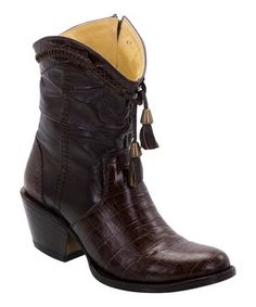 Brown Leather Ankle Cowboy Boot