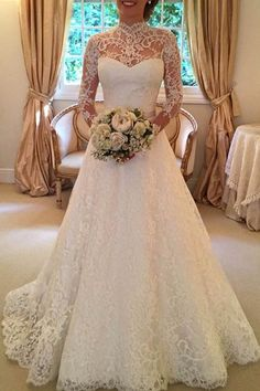 Long Sleeves Sweep Train Lace Wedding Dress With Bowknot Backless TN0070