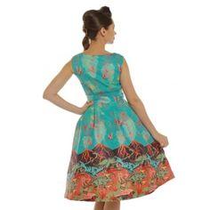 'Sorrell' Volcano and Dinosaur Print Swing Dress