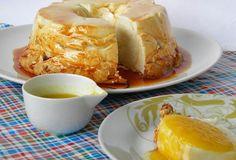 PUDIM DE CLARA COM CALDA BABÁ DE MOÇA Ingredientes Caramelo 1 xícara (de chá) de açúcar Pudim 6 claras de ovos 1 xícara (de chá) de açúcar 1 colher (de café) de raspa de limao Baba de