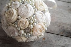Ivory Rosette, Rhinestone and Pears Pomander- Fabric Flower Kissing Ball, Vintage Style Wedding Bouquet. $75,00, via Etsy.