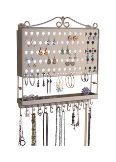 Wall Mount Earring Holder and Necklace Organizer - Multi-Purpose Earring Angel by Angelynn's Jewelry Organizers in Satin Nickel Silver