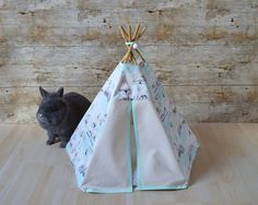 Rabbit teepee Kitten teepee Rat bed tent with pillow - mountain and fir pattern blue orange & Rabbit teepee Kitten teepee ferret tent with pillow - Mountain and ...