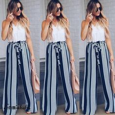 ee2e1f897237 New 2018 Fashion Summer Wide Leg Pants Women High Waist Plaid Striped Loose  Palazzo Pants Elegant Office Lady Trouser Navy Blue