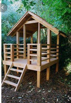 Backyard Fort, Backyard Playhouse, Backyard Playground, Backyard For Kids, Children Playground, Cedar Playhouse, Pallet Playhouse, Playhouse Ideas, Garden Kids