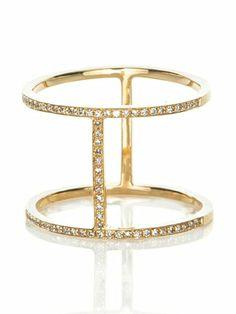 Yellow Gold Sparkling White Diamond Bar Ring by 88 by Sandy Simonian
