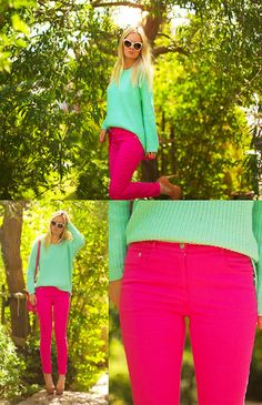 Teal High Low Sweater + Fuchsia Skinny Jeans