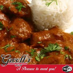 Fight off this winter's cold with our delicious cooked lamb curry and rice for only Come spoil yourself at Greeff's Butchery Cafe. Meat Markets, Lamb Curry, Spoil Yourself, Rice, Cold, Cold Weather, Jim Rice
