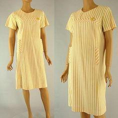 Vintage 60s Pink Tan Striped Dress Jackie O Style Mad Men Mod Sir Rob size L ---oh lovely! #Sylink