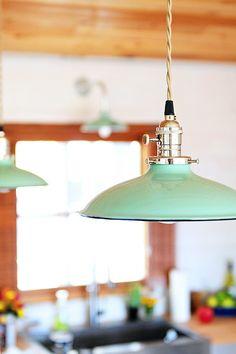 mint lights in kitchen