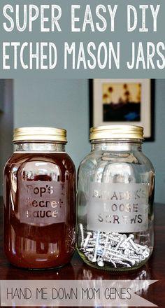 Hand Me Down Mom Genes: Super Easy DIY Etched Mason Jars