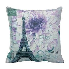 Bring the romance of Paris to you by adding some trendy Paris themed home decor.  As you know Paris is absolutely beautiful all times of year because it symbolizes love and romance.  With this in mind it is easy to transform your home into a magical romantic paradise.    Also can be under:    paris room wall decor  paris room decorations  paris themed home decor  paris themed decor  eiffel tower room decor  eiffel tower bedroom de    Vintage Purple Floral Paris Eiffel Tower Throw Pillow Case